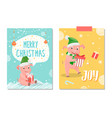 merry christmas and joy postcards piglets new year vector image