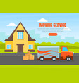 moving service landing page template delivery van vector image vector image
