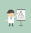 optometrist points to the table for testing visual vector image