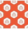 Orange hexagon Libra pattern vector image vector image