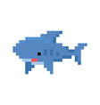 pixelated cartoon shark - isolated vector image vector image
