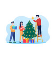 preparing to meet 2022 new year decoration tree vector image