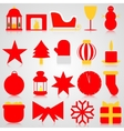 Red icons with Christmas paraphernalia on a gray vector image vector image