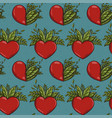 seamless pattern with half nature plants and red vector image