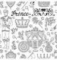seamless pattern with prince concept vector image vector image