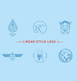 Selection of the linear style logos vector image vector image
