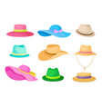 set hats on white vector image vector image