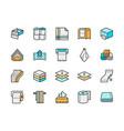 set napkins flat color line icons toilet rolls vector image vector image
