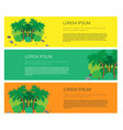 set of banners with palm trees and beach vector image