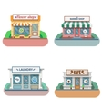 Set of flat design shops facade icons vector image