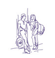 sketch couple stand talking holding backpacks vector image vector image