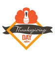 thanksgiving day greeting banner with turkey bird vector image