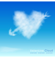 Valentine cloud on th sky background vector image vector image