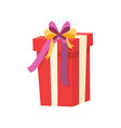 wrapped xmas gift realistic icon isolated vector image vector image