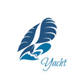 yachting club blue yacht and waves icon vector image vector image