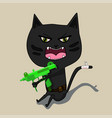 aggressive cat is a terrorist with a gun cute vector image