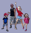 cartoon happy family of a couple with two children vector image