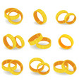 3d set with gold rings in realistic style vector image