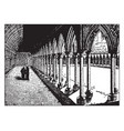 a cloister at a french monastery from the middle vector image vector image