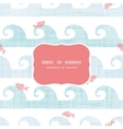 Abstract textile fish among waves frame seamless vector image