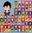 avatar collection various male and female vector image vector image