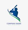baseball player logo vector image