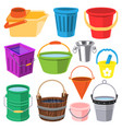 bucket water full wood and metal plastic vector image