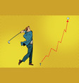 businessman golf shot profit graph vector image vector image