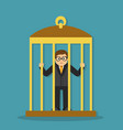 businessman in a cage vector image vector image