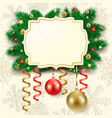 christmas background with label vector image vector image