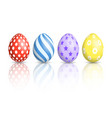 colourful easter eggs on white background vector image vector image