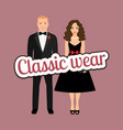 couple in black dress and tux vector image vector image