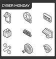 cyber monday isometric icons vector image vector image