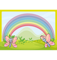 Flies and rainbow vector image vector image