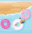 floating toys at the beach top view summer vector image vector image