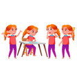girl schoolgirl kid poses set redhead vector image