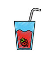 glass cup of juice strawberry with straw beverage vector image vector image