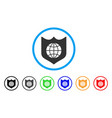 global shield rounded icon vector image vector image