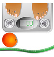Graphic of Feet on a Scale Machine vector image vector image