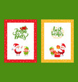greeting framed cards with christmas characters vector image vector image