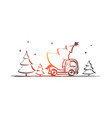 hand drawn christmas tree in car vector image