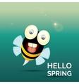 Hello spring cartoon cute bright baby bee vector image
