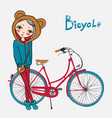 hipster girl with bicycle vector image vector image