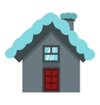 House with snow on roof icon flat style vector image vector image