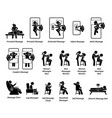 human masseur and massage equipments artworks vector image vector image
