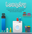 laundry room with washing machine and ironing vector image