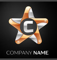 letter c logo symbol in the colorful star on black vector image vector image
