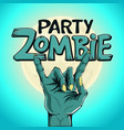 logo zombie party zombie hand shows rock gesture vector image vector image