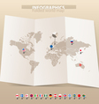 map and flags different countries vector image