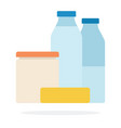 milk bottles bank sour cream and butter flat vector image vector image